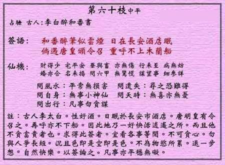 黄大仙灵签第60签解签:李白醉和番书_抽签占卜