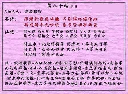 黄大仙灵签第80签解签:乐广释疑_抽签占卜